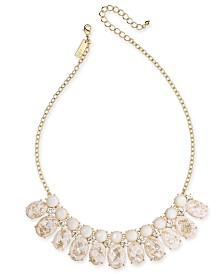 "I.N.C. Gold-Tone Crystal, Imitation Pearl & Foil-Detail Stone Statement Necklace, 17"" + 3"" extender, Created for Macy's"