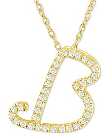 "Diamond Initial Pendant Necklace (1/10 ct. t.w.) in 14k Gold Over Sterling Silver, 16"" + 2"" Extender"