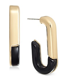 Alfani Gold-Tone & Black Acrylic Large Link Drop Earrings, Created for Macy's