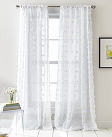 "Ella Pompom Dot 50"" x 84"" Sheer Curtain Set"