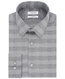 Calvin Klein Men's Steel Slim-Fit Performance Stretch Non-Iron Gray Check Dress Shirt