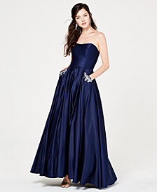 Blondie Nites Juniors' Strapless Embellished-Pocket Gown