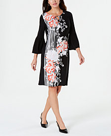 JM Collection Petite Bell-Sleeve Printed Dress, Created for Macy's