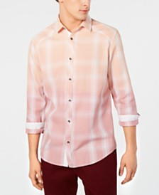 I.N.C. Men's Washed Plaid Shirt, Created for Macy's