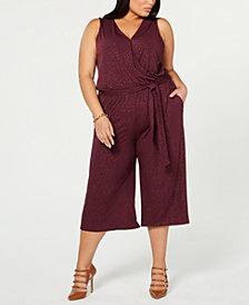 MICHAEL Michael Kors Plus Size Wide-Leg Glitter Jumpsuit