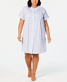 Miss Elaine Plus Size Seersucker Snap Robe