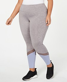 Ideology Plus Size Colorblocked Mesh-Trimmed Ankle Leggings, Created for Macy's