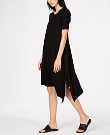 Eileen Fisher Petite Size Stretch Jersey Asymmetrical Dress