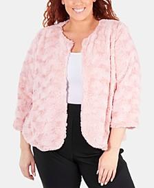 Plus Size Patterned Faux Fur Jacket