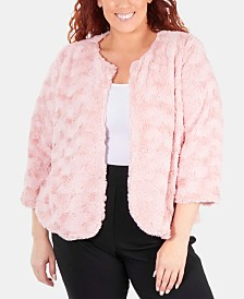 NY Collection Plus Size Patterned Faux Fur Jacket