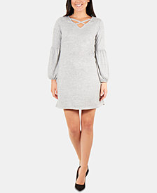 NY Collection Petite Lattice-Neck Dress