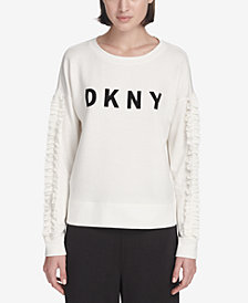 DKNY Sport Ruffled-Sleeve Logo T-Shirt, Created for Macy's