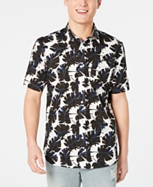 American Rag Men's Regular-Fit Leaf-Print Shirt, Created for Macy's