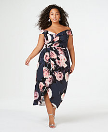 City Chic Trendy Plus Size Off-The-Shoulder Floral-Print Dress