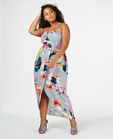 City Chic Trendy Plus Size Strapless High-Low Maxi Dress
