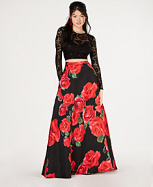B Darlin Juniors' 2-Pc. Lace Top & Printed Long Skirt, Created for Macy's