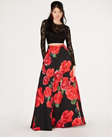 a779f371 B Darlin Juniors' 2-Pc. Lace Top & Printed Long Skirt, Created