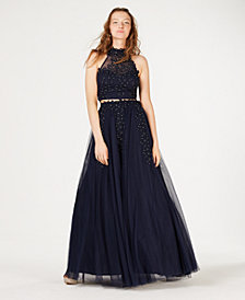 Say Yes to the Prom  Juniors' 2-Pc. Rhinestone Appliqué Gown