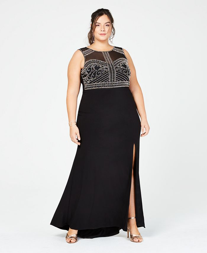 Morgan & Company - Trendy Plus Size Beaded Gown