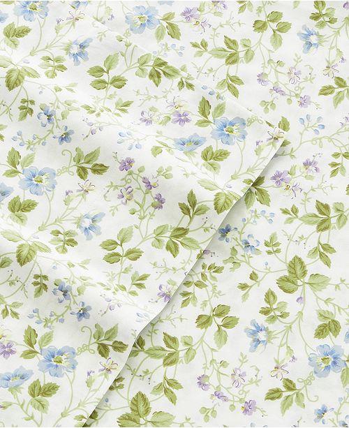 Laura Ashley Flannel Queen Sheet Set: Laura Ashley Spring Bloom Multi Blue Queen Flannel Sheet