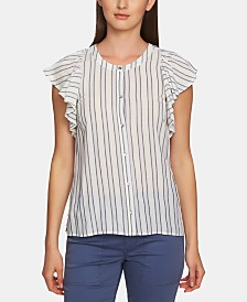1.STATE Striped Flutter-Sleeve Button-Up Top