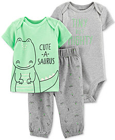 Carter's Baby Boys 3-Pc. Tiny But Mighty Bodysuit, T-Shirt & Pants Set