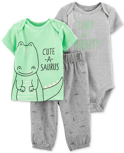 Carter's Baby Boys 3-Pc. Tiny But Mighty Bodysuit, T-Shirt & Pants Set