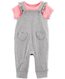 Carter's Baby Girls 2-Pc. Striped Cotton T-Shirt & Flutter Overalls Set