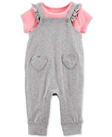 Carter's Baby Girls 2-Pc. Striped Cotton T-Shirt & Flutter Overalls Set