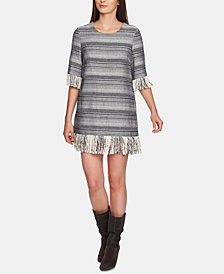 1.STATE Cotton Rustic Tweed Fringe Dress