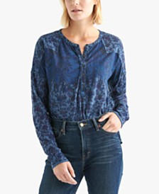 Lucky Brand Washed Printed Henley Top