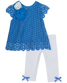 Rare Editions Baby Girls 2-Pc. Crochet Lace Tunic & Leggings Set