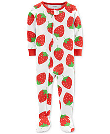 Carter's Baby Girls Strawberry-Print Footed Pajamas