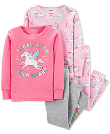 Carter's Baby Girls 4-Pc. Unicorn-Print Cotton Pajamas Set