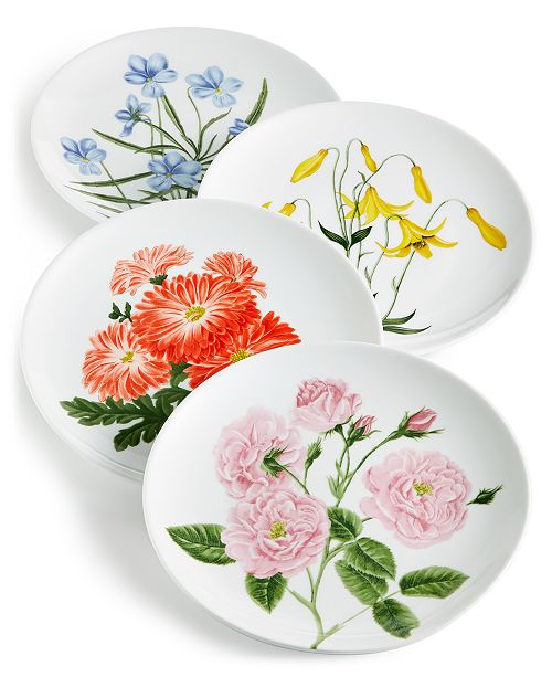 Martha Stewart Collection Floral Salad Plates, Set of 4, Created for Macy's