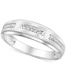 Men's Diamond Accent Wedding Band in 14k White Gold or Yellow Gold