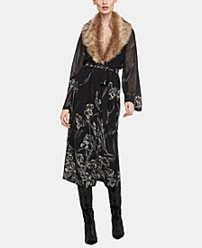 BCBGMAXAZRIA Floral-Print Dress With Faux-Fur Collar
