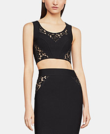BCBGMAXAZRIA Floral-Lace Cropped Sweater