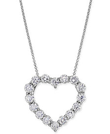 "Diamond Heart Pendant Necklace (2-9/10 ct. t.w.) in 14k White Gold, 16"" + 2"" extender"