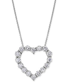 "Diamond Heart Pendant Necklace (2-9/10 ct. t.w.) in 14k White Gold, 16"" + 2"" extender"