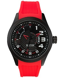 Kenneth Cole Reaction Men's Red Silicone Strap Watch 47mm