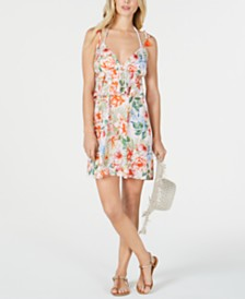 Lucky Brand Printed Ruffle Swing Cover-up Dress