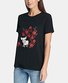 DKNY Short-Sleeve Pig & Flowers Graphic T-Shirt