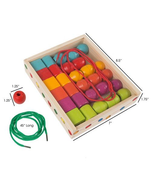 Trademark Global Kids Bead And String Lacing Toy Set By Hey Play
