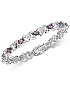 Coated White Quartz (7 ct. t.w.) & Diamond Accent Bracelet Link Bracelet in Sterling Silver