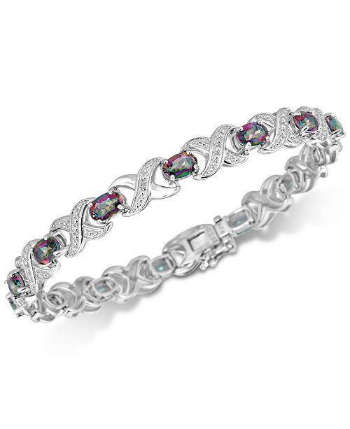 Macy's Coated White Quartz (7 ct. t.w.) & Diamond Accent Bracelet Link Bracelet in Sterling Silver