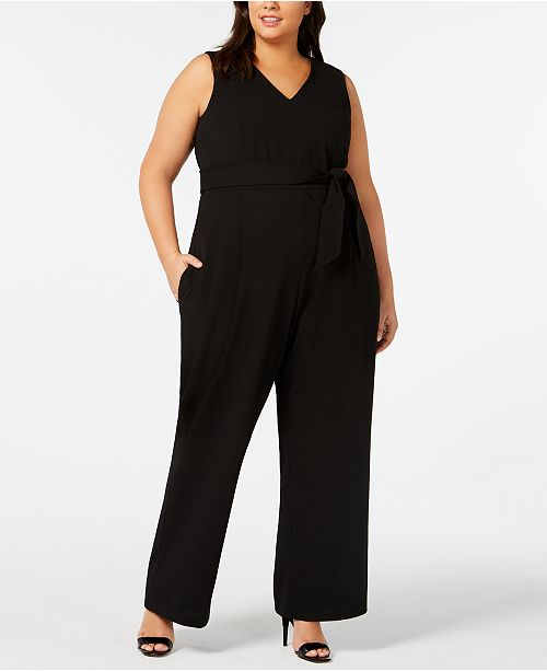 145f36ca220 Calvin Klein Plus Size V-Neck Jumpsuit   Reviews - Dresses - Plus ...