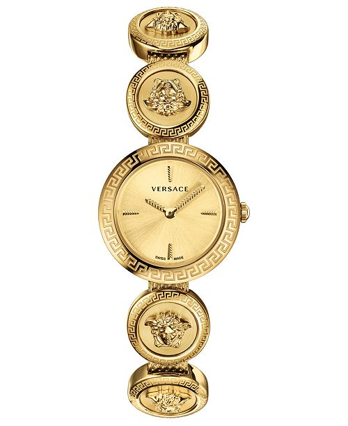 189139264c8 ... Versace Women s Swiss Medusa Stud Icon Gold-Tone Stainless Steel  Bracelet Watch ...