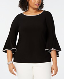 MSK Plus Size Embellished Bell-Sleeve Top