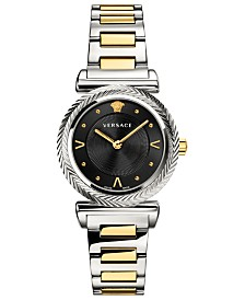 Versace Women's Swiss V-Motif Vintage Logo Two-Tone Stainless Steel Bracelet Watch 35mm